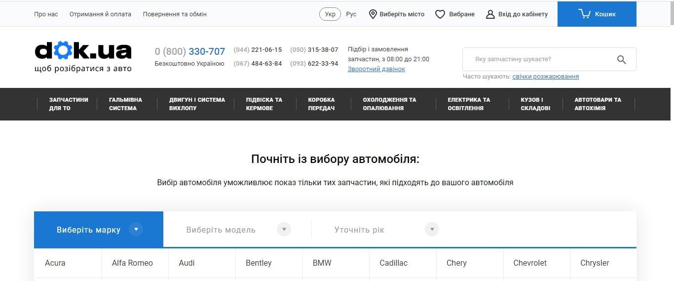 Інтернет-магазин автозапчастин dok.ua