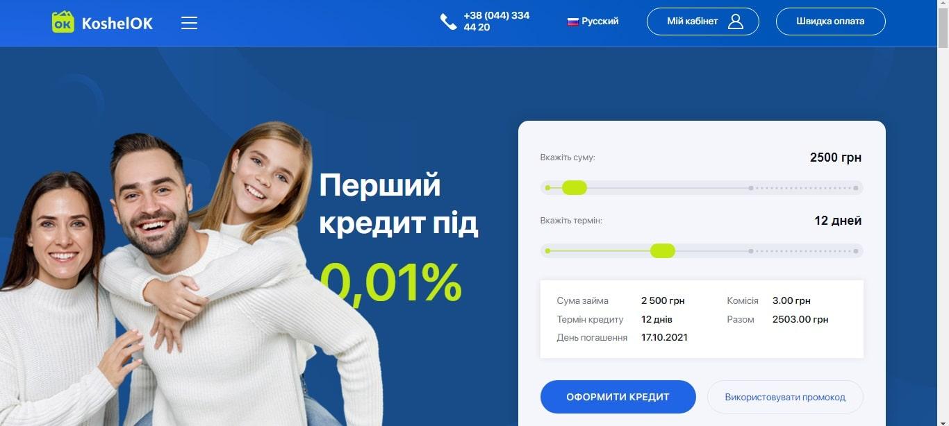 Сервіс кредитів KoshelOK